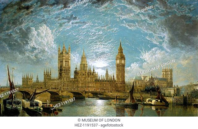 'Westminster Bridge, the Houses of Parliament and Westminster Abbey seen from the River', 1872. Dramatic sunset and clouds over the seat of British government