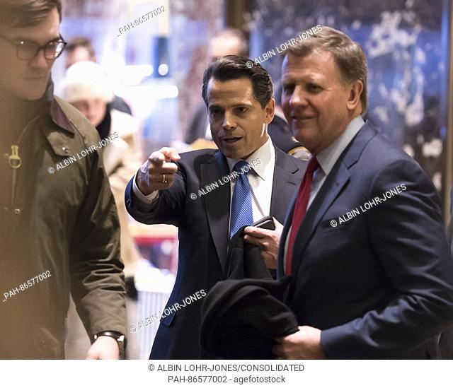 "CNBC """"Squawk Box"""" Co-anchor Joe Kernen and Trump campaign financial advisor Anthony Scaramucci are seen in the lobby of Trump Tower in New York, NY"
