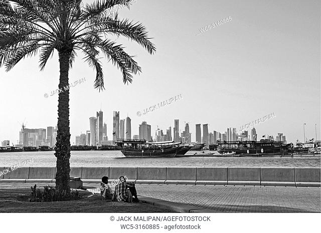 doha city skyline view in qatar in black and white