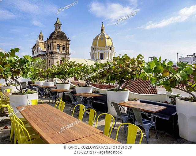 Rooftop Terrace and San Pedro Claver Church, Cartagena, Bolivar Department, Colombia