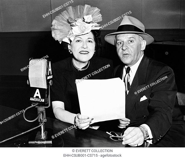 Louella Parsons and Walter Winchell, syndicated gossip columnists in print and on radio. Their NBC radio shows are scheduled on Sunday nights in August 1945
