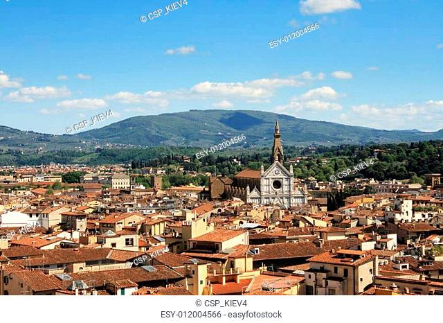 View of the city of Florence and the Santa Croce