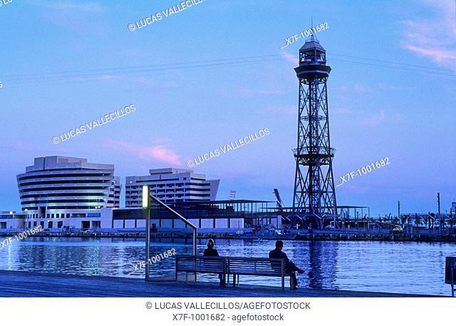 Barcelona: harbour of barcelona  World Trade Center 1999 and Torre de Jaume I
