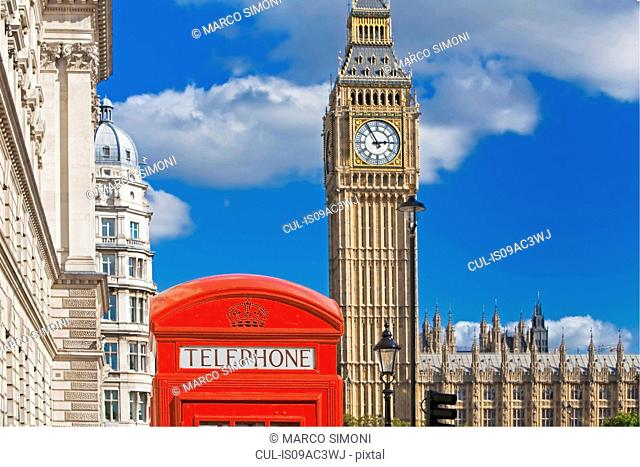 Big Ben and red telephone box, London, UK