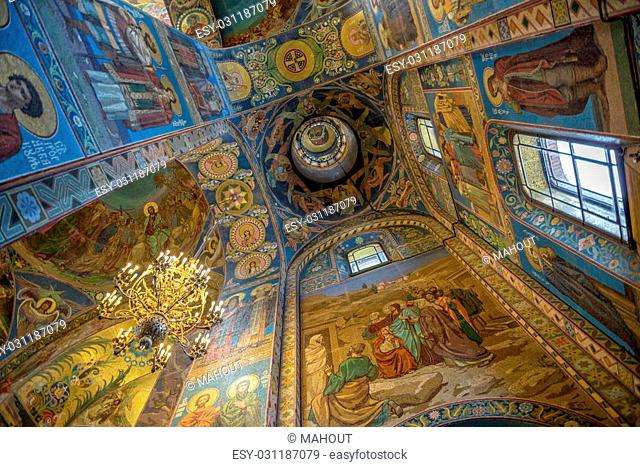 Painting and mosaic on domes and columns in interior of Savior on the Spilled Blood Cathedral in St. Petersburg. Russia