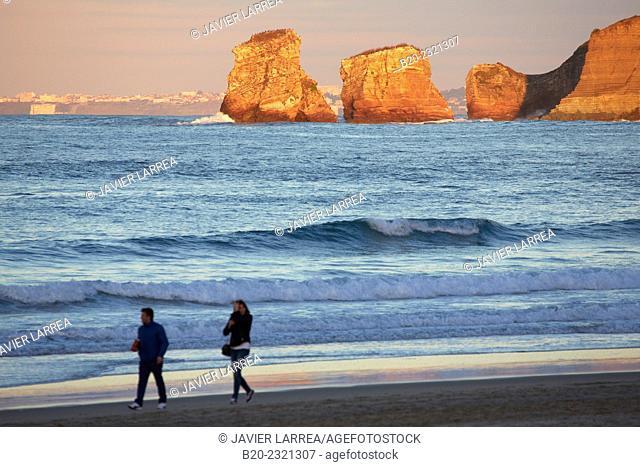 Twin rocks. Beach. Hendaye. Aquitaine. Pyrenees Atlantiques. France