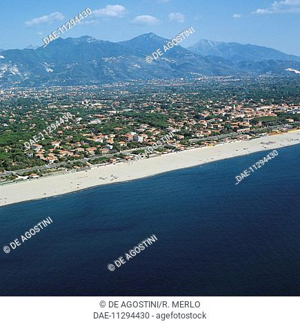 Forte dei Marmi with the Apuan Alps in the background, Tuscany, Italy