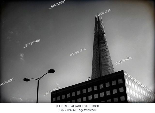 View of the Shard building from London Bridge in London, England, UK