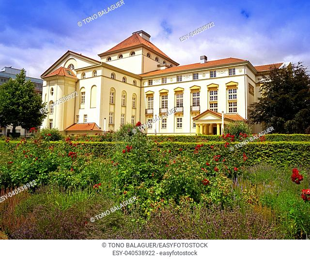 Nordhausen Theater and garden in Harz Thuringia of Germany