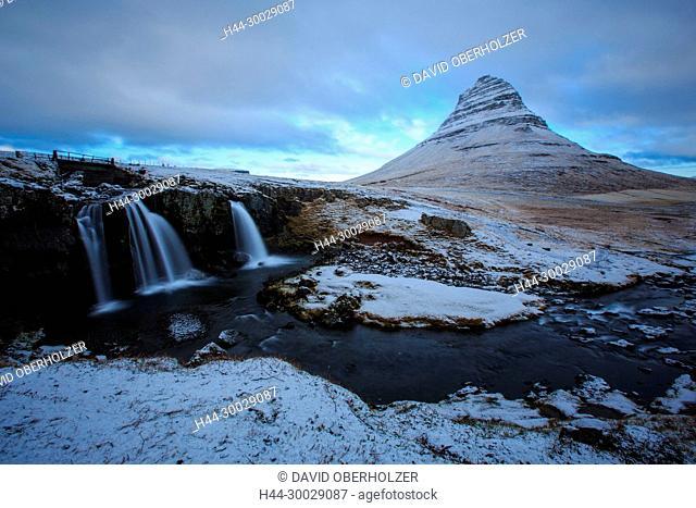 Mountains, Europe, Island, Kirkjufell, Kirkjufellsfoss, sceneries, light mood, Snaefellsnes, volcano island, water, waterfall, winter