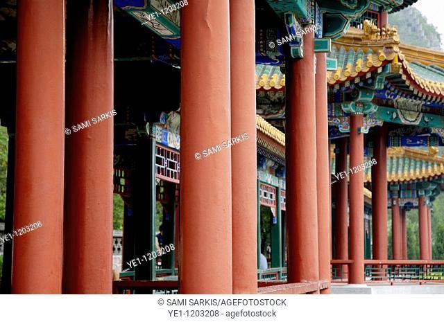 Ornate and decorative columns and pavilions on the Great Wall, Juyongguan Gate near Badaling, China