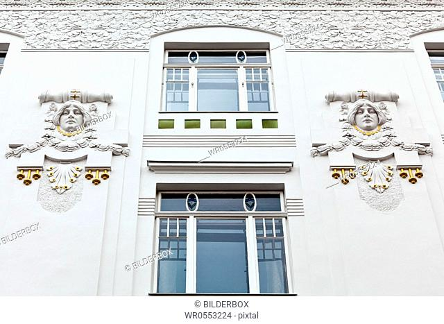 A beautifully renovated art nouveau building.Renovation of old town houses