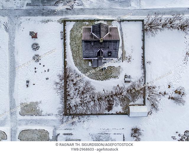 Arbaejarsafn Museum- Aerial view of old houses, Reykjavik, Iceland