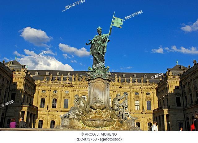 Wurzburg, Wuerzburg, Residenz, Wuerzburg Residenz, UNESCO World Heritage Site, Romantic Road, Romantische Strasse, Franconia, Bavaria, Germany, Europe