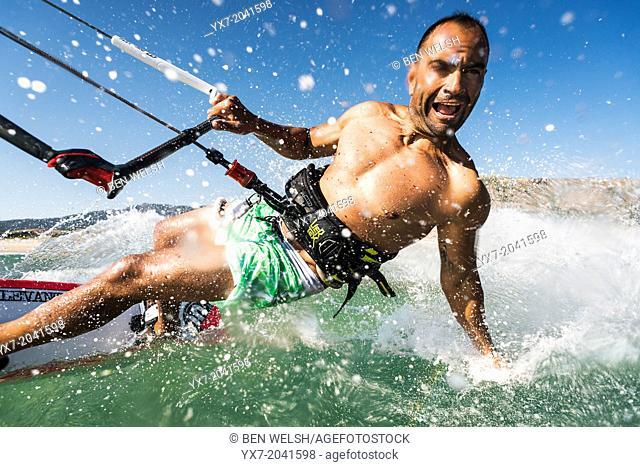 Kitesurfing in Tarifa, Costa de la Luz, Cadiz, Andalusia, Spain