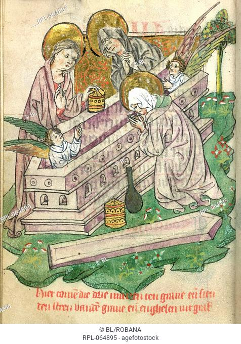 Three Maries at the Sepulchre Whole folio The Three Maries with unguent-pots kneel by the empty tomb with an angel at each end
