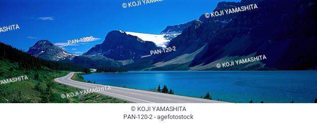 Road Along Bow Lake, Alberta, Canada