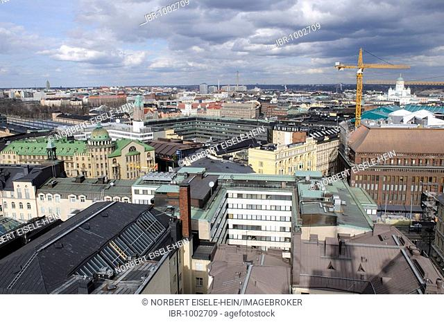 Panoramic view from Hotel Tornin towards Helsinki Cathedral, Helsinki, Finland, Europe