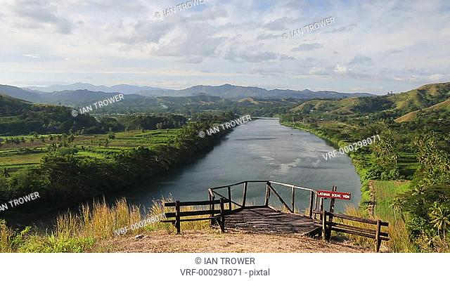 Man looking at view of Sigatoka River from Tavuni Hill Fort, Sigatoka, Viti Levu, Fiji