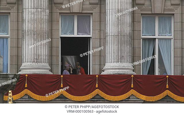 The Monarch Queen Elizabeth on her Official Birthday, comes out to greet the people as she and the Royal Family come out on to the Balcony at Buckingham Palace...