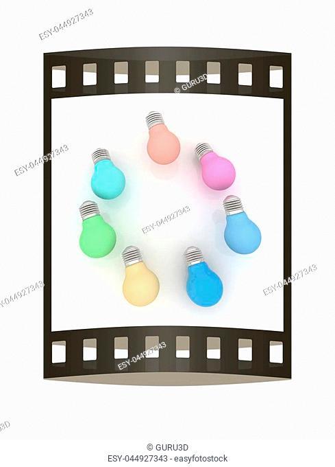 lamps. 3D illustration. The film strip