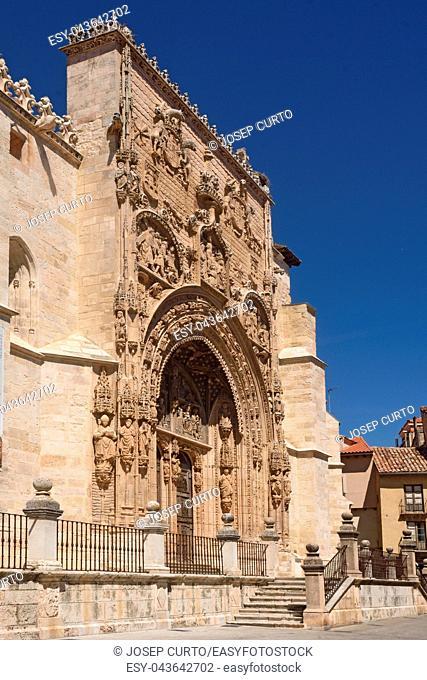 Portico of the Gothic church of Santa Maria la Real, Aranda de Duero, Burgos province, Castilla y Leon, Spain