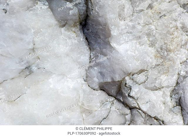 Quartz, mineral composed of silicon and oxygen and semi-precious gemstone, close up showing grain structure and texture