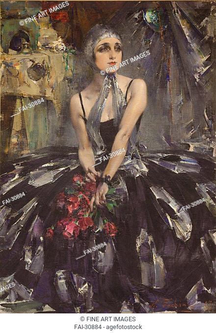Portrait of the ballet dancer Vera Fokina (1886-1958) by Feshin, Nikolai Ivanovich (1881-1955)/Oil on canvas/Realism/1927/Russia/Martin Museum of Art