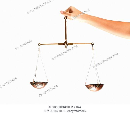 Hand of judge holding scales in isolation