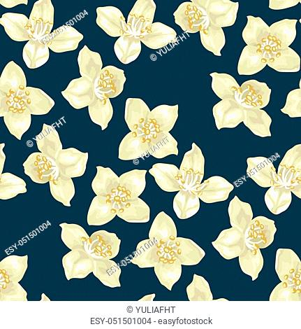 Seamless pattern with jasmine flowers in realistic graphic vector illustation