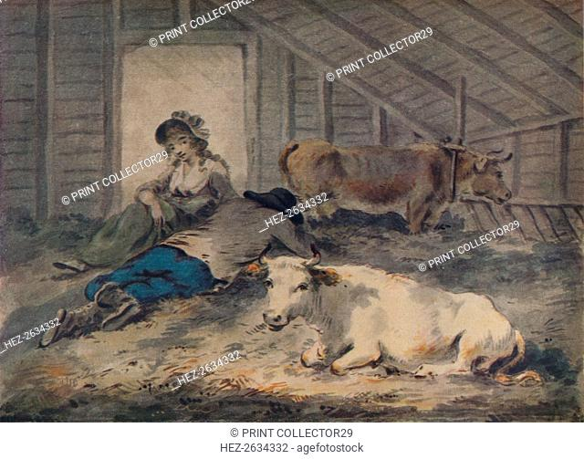 'Courtship in a Cowshed', c1801. Artist: Julius Caesar Ibbetson