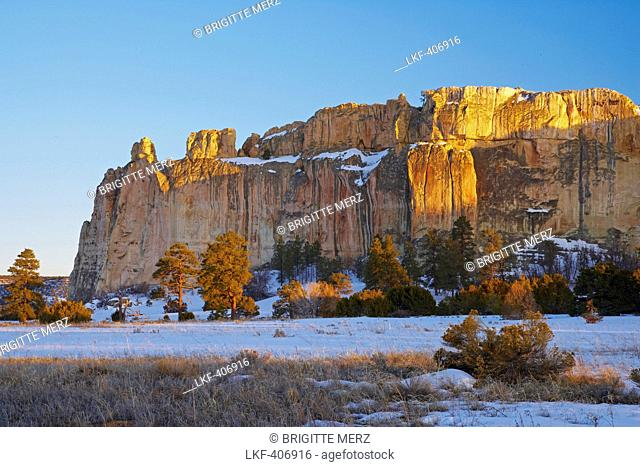 Evening at El Morro National Monument, Snow, New Mexico, USA, America