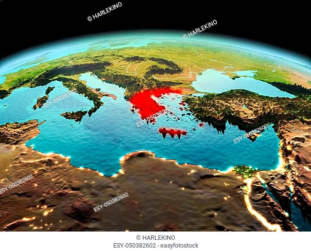Morning above Greece highlighted in red on model of planet Earth in space. 3D illustration. Elements of this image furnished by NASA