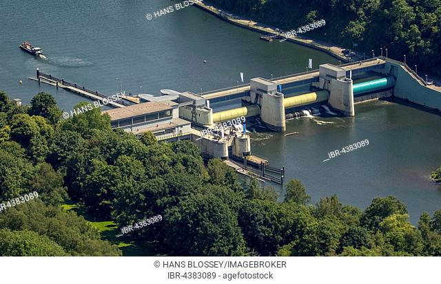 Aerial view, dam in Lake Baldeney, hydropower plant, Essen, Ruhr district, North Rhine-Westphalia, Germany