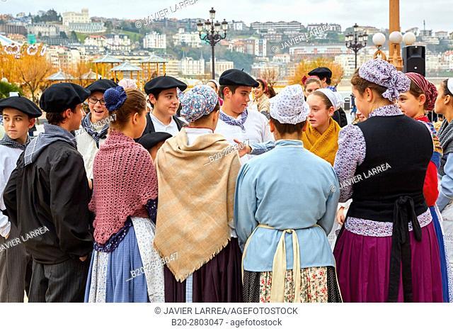 Basque regional costumes, Olentzero, Christmas, Town hall, Donostia, San Sebastian, Gipuzkoa, Basque Country, Spain, Europe