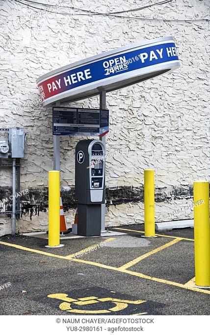 Modern parking ticket pay machine , Philadelphia, Pennsylvania, USA