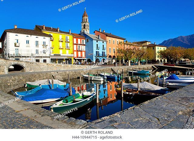 Ascona, Switzerland, Europe, canton, Ticino, Lago Maggiore, houses, homes, harbour, port, boats, church, bank promenade