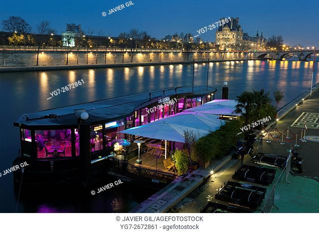 Restaurant in the Seine river, Paris, Ile-de-france, France