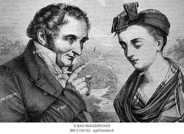 Johann Peter Hebel, 1760 - 1826, poet, and Breneli, actually Veronica Rohre, 1779 - 1869, probably his mistress, historical woodcut, circa 1870
