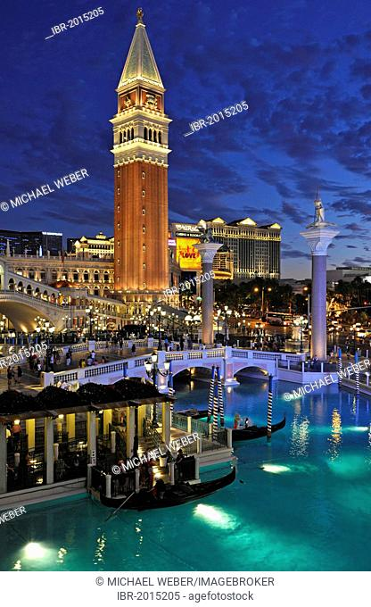 Night shot at the blue hour, Canale Grande, Grand Canal, Campanile bell tower, gondolas, The Strip, 5-star luxury hotel at The Venetian Casino, The Mirage