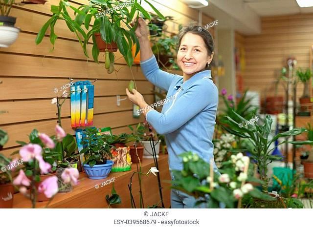Happy mature woman with Nepenthes plant surrounded by different flowers in flower store