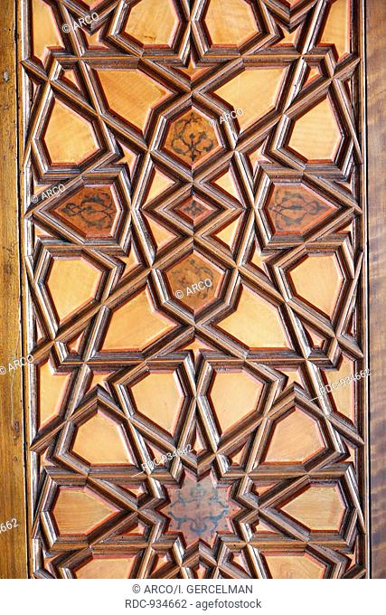Macro view of woodwork shutter in Rustem Pasa Mosque, Istanbul, Turkey