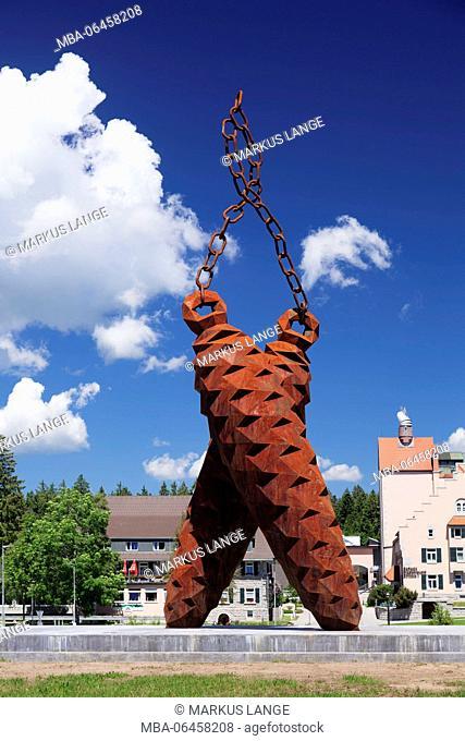 Fir cones sculpture, artist Stefan Strumbel, brewery Rothaus, Grafenhausen, Black Forest, Baden Württemberg, Germany