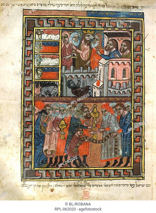 Scenes from Exodus The plague of the first born upper. The Israelites despoiling the Egyptians lower. Vellum manuscript. Image taken from Brother Haggadah
