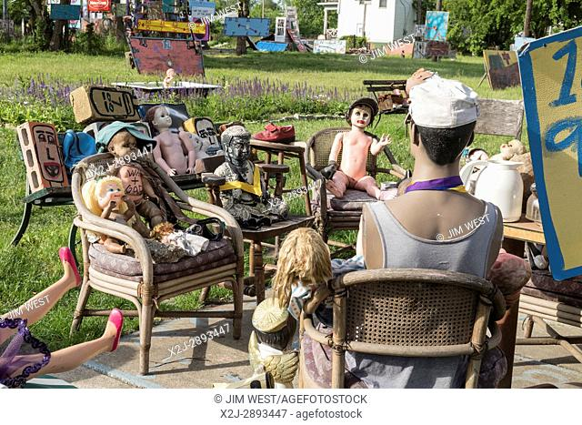 Detroit Michigan -- The Heidelberg Project, an outdoor public art project in a depressed neighborhood created on and around abandoned houses by artist Tyree...