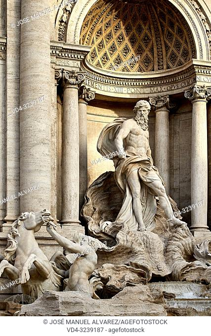 Close-up of a statue in the Trevi Fountain