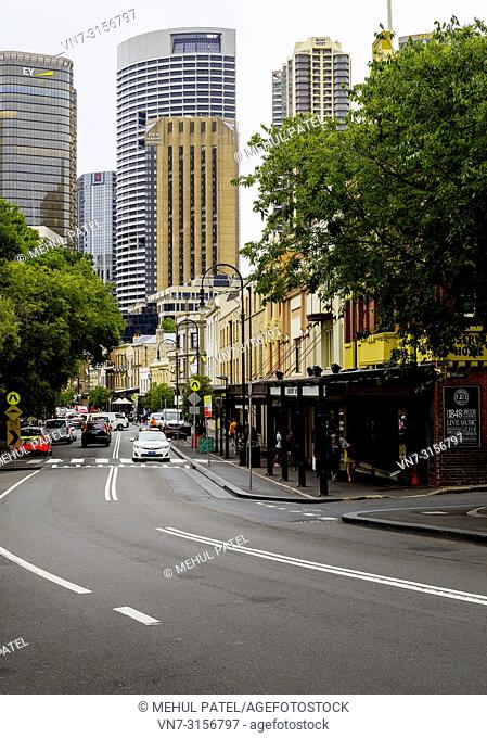 View down George Street in the historic Rocks neighbourhood towards central business district of Sydney, Sydney, New South Wales, Australia