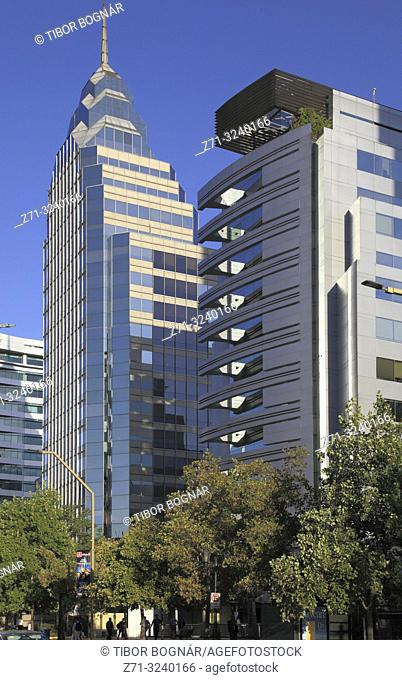 Chile, Santiago, Barrio El Golf, street scene, modern architecture,