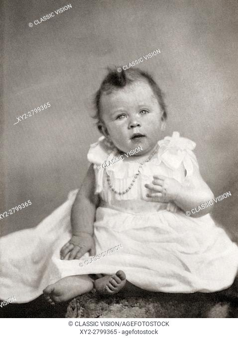 Princess Elizabeth, future Queen Elizabeth II, at eight months old, December, 1926. Elizabeth II, born 1926. Queen of the United Kingdom, Canada