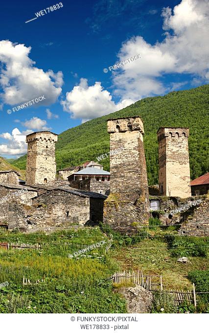 Stone medieval Svaneti tower houses of Chazhashi, Ushguli, Upper Svaneti, Samegrelo-Zemo Svaneti, Mestia, Georgia. Chazhashi is the main village of a group of...
